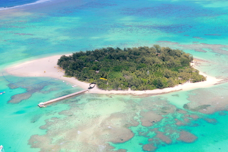 Aerial view, Managaha Island, Saipan Managaha Island is one of the most popular tourist attractions in the Northern Mariana Islands known for its crystal clear waters and soft white sands.