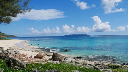 Tachogna Beach on Tinian is one of the most accessible beaches in the island Stock Photo