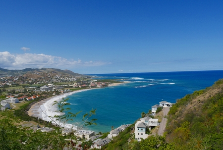Frigate Bay, St Kitts, West Indies A view overlooking the scenic Frigate Bay in St. Kitts, West Indies Banco de Imagens