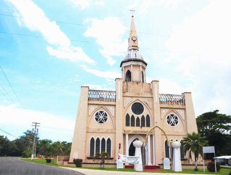 St. Joseph Church, Inarajan, Guam Established in the late 1680 by the Spanish, this Catholic church in Inarajan, Gyam has been rebuilt several times. 스톡 콘텐츠