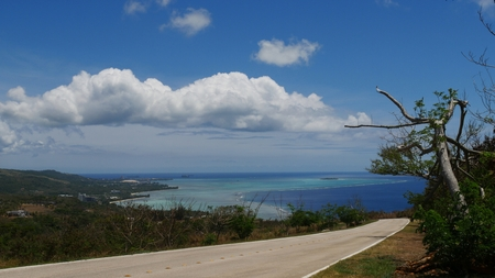 Road in Marpi looking toward Saipan lagoon with its different shades of blue.