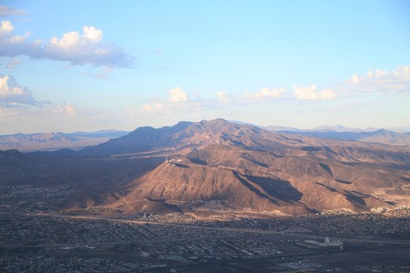Aerial view of the mountains of Nevada mountains and part of Las Vegas