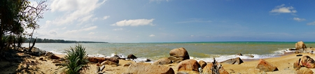 Panoramic view of a beach in Narathiwat, northernmost Thailand.