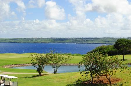 Golf course near the ocean in a tropical island