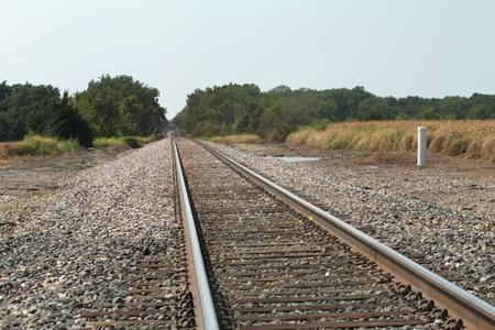 Railroad tracks passing through farmlands