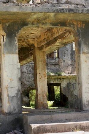 Ruins of the Japanese Air Command Building during the world war 11 in Tinian, Northern Mariana Islands