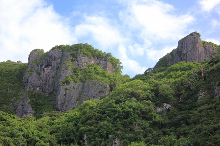 Close up shot of the Suicide Cliff in Marpi, Saipan, Northern Mariana Islands