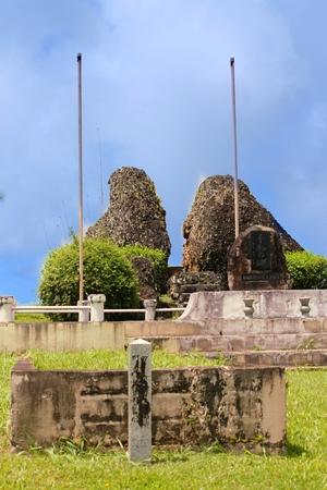 Close up shot of the peace Memorials at the top of Mt Sabana, Rota Island's highest peak