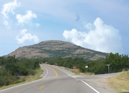 Paved road to Mt Scott at the Wichita Mountains Wildlife Refuge Located at Southern Oklahoma area