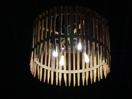Chandelier made of rounded wood and bamboo design