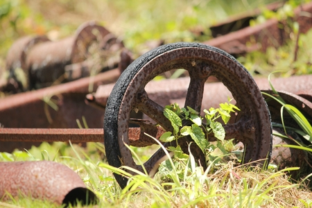 Old rusty wagon wheel abandoned in the bushes, relics from times past Stock Photo