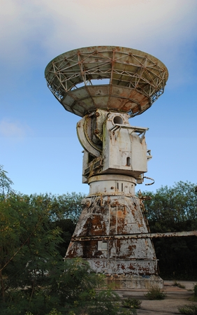 Abandoned Pacific Barrier Radar 111 tower, Saipan Banque d'images - 117716697
