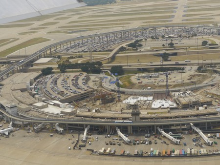 Aerial view of a part of the Dallas Forth Worth International Airport, Texas seen from an airplane window