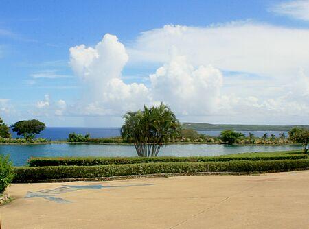 Beautiful coastal scene at a golf course in a tropical island