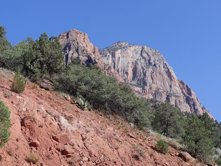Upward shot of red mountains and sandstone cliffs at Zion National Park, Utah. Imagens