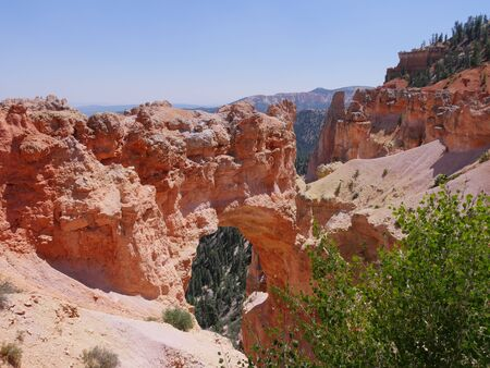 Natural Bridge, an 85-foot arch carved out of sedimentary red rock at Bryce Canyon National Park in Utah.
