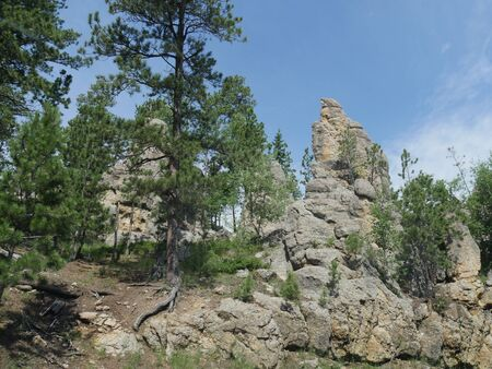 Incredible rock formations at Needles Highway in South Dakota. Imagens