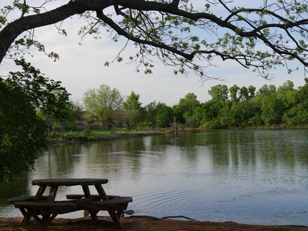 Relaxing view of a lake with a wooden round table and benches in the bank