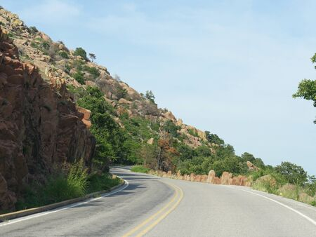 Winding road to the peak of Mt. Scott at Comanche County, Oklahoma.