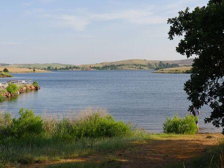 Scenic view of Lake Elmer Thomas, Wichita Mountains, Oklahoma Banco de Imagens