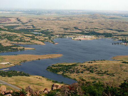 Scenic view of Lake Lawtonka, aerial view Standard-Bild