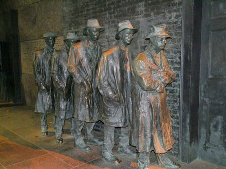 Washington, D.C., USA-September 2017: Sculptures at the Franklin Delano Roosevelt Memorial depicting the breadline during the Great Depression, Washington, District of Columbia.
