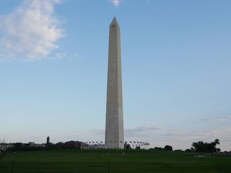 Washington, D.C. USA- September 2017: Full shot of theWashington Monument, the iconic 555- foot stone obelisk built to honor America's first president. Éditoriale
