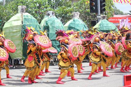 Davao City, Philippines-August 2014: Lively performance as streetdancers dance to the rythm of the drums. Kadayawan is celebrated August each year to give thanks for life and an abundant harvest.