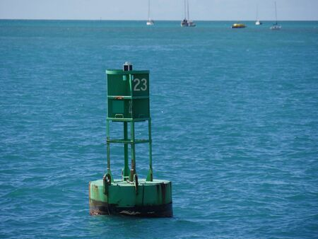 A bouy floats in the ocean some meters away from the pier
