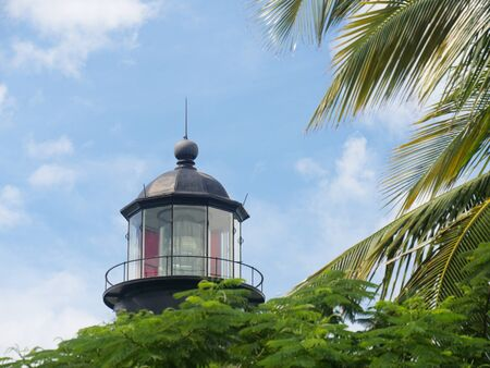 Medium close up of the tower of the Key West lighthouse at Whitehead Street, Key West, Florida. Stock Photo