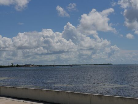 Scenic ocean view of the Key West, Florida with gorgeous clouds on a beautiful day.