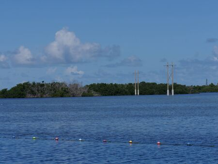 Wide shot with power poles in the water along the coastal area in Key West, Florida.
