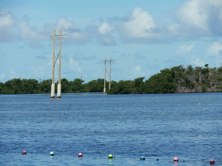 Power posts in the water along the coastal area in Key West, Florida.