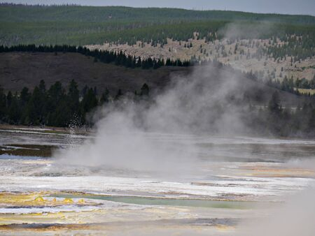 View of Clepsydra Geyser at the Lower Geyser Basin, Yellowstone National Park. Reklamní fotografie