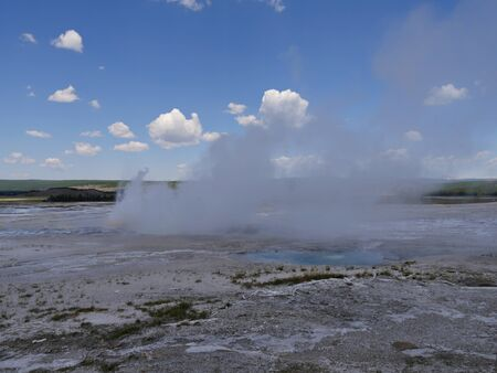 Impressive view of Clepsydra Geyser at the Lower Geyser Basin, Yellowstone National Park.