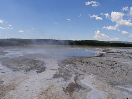 Lower Geyser Basin, wide scenic view, at Yellowstone National Park, Wyoming.
