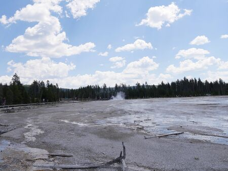 Wide view of the Lower Geyser Basin, with people walking on the boardwalks at Yellowstone National Park.