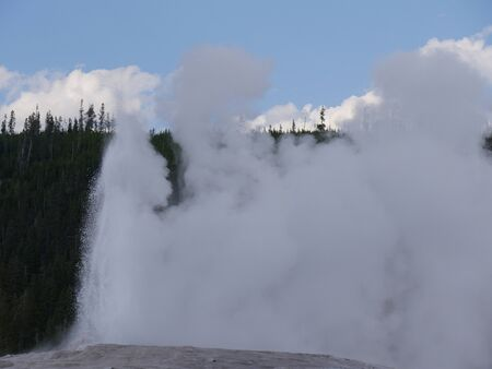 Close up of scalding water and steam spewing out of the Old Faithful geyser during one of its regular eruptions at Yellowstone National Park, Wyoming.