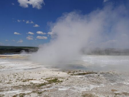 Breathtaking view of Clepsydra Geyser at the Lower Geyser Basin, Yellowstone National Park.