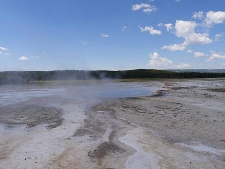Breathtaking view of Lower Geyser Basin at Yellowstone National Park, Wyoming.