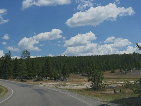 Beautiful clouds over pine tree forests at Yellowstone National Park. Stock Photo