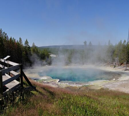 View from the woden deck of the Emerald Spring with hot steam rising off at the Norris Geyser Basin at Yellowstone National Park, Wyoming.