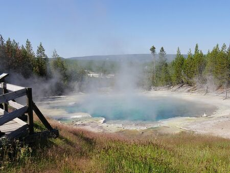 Medium wide shot of the Emerald Spring with steam rising from the Norris Geyser Basin at Yellowstone National Park, Wyoming.
