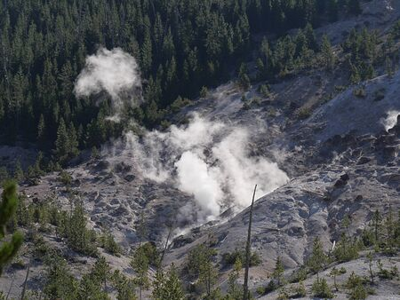 Medium close up of the Roaring Mountain with steam spewing from numerous fumaroles at Yellowstone National Park, Wyoming.