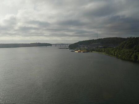 View of the Hudson River approaching New York on a cloudy afternoon
