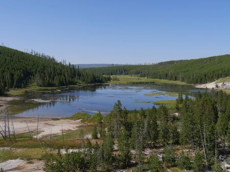 View of Nymph Lake along the road north of Norris Geyser Basin in Yellowstone National Park.
