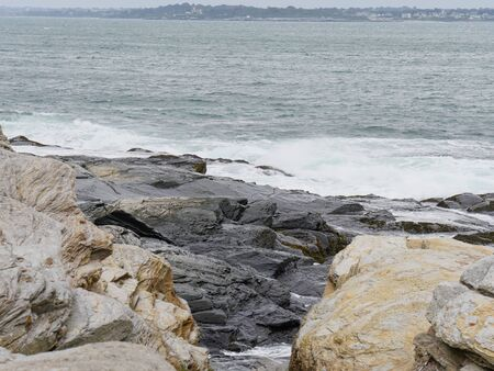 Rocky shores and limestone by the ocean