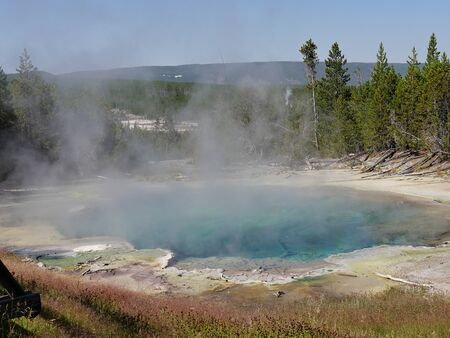 Close up of the Emerald Spring with hot steam at the Norris Geyser Basin at Yellowstone National Park, Wyoming.