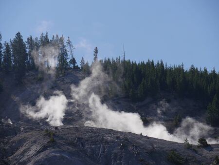 Steam spews out from numerous fumaroles of the Roaring Mountain at Yellowstone National Park, Wyoming. Stock Photo