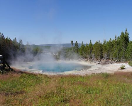 Emerald Spring at the Norris Geyser Basin at Yellowstone National Park, Wyoming.